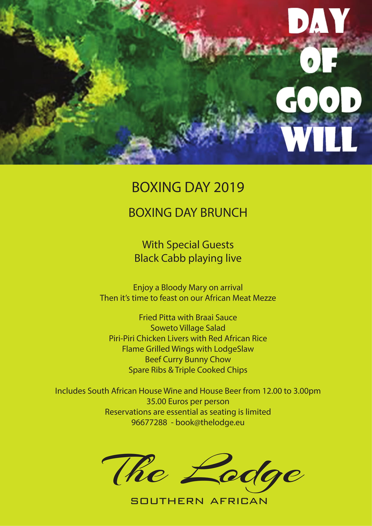 The Lodge Boxing Day Brunch Menu 2019